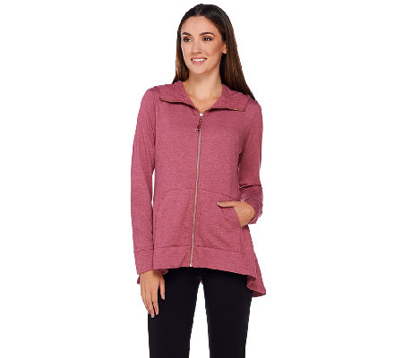 LOGO Lounge by Lori Goldstein Zip Front Hoodie with Peplum Details