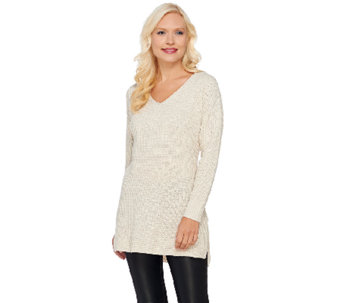 H by Halston Silk Cashmere V-neck Waffle Knit Pullover Tunic - A269421