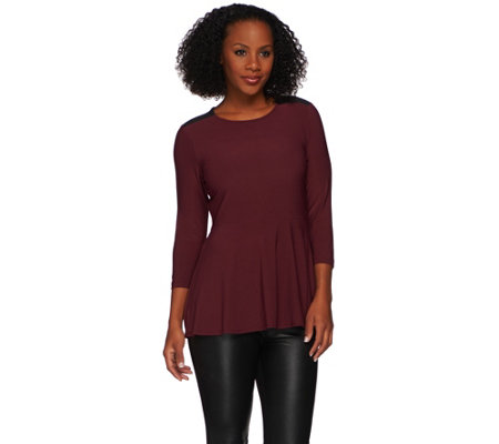 Attitudes by Renee Peplum Top with Faux Suede Detail