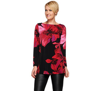 Susan Graver Artisan Printed Liquid Knit Tunic with Embellishment - A271521