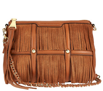 Aimee Kestenberg Leather and Suede Fringe Crossbody - A272321