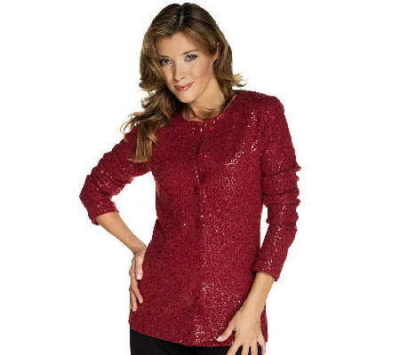 """As Is"" Joan Rivers Sequin Embellished Cardigan"