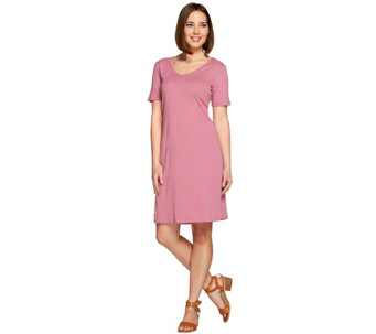 Denim & Co. Essentials Scoop Neck Short Sleeve Dress - A273021