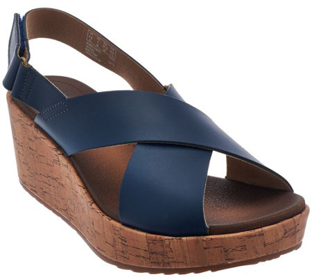 Clarks Leather Cross Band Wedge Sandals - Stasha Hale