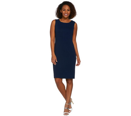 Susan Graver Passport Knit Bateau Neck Fully Lined Sheath Dress