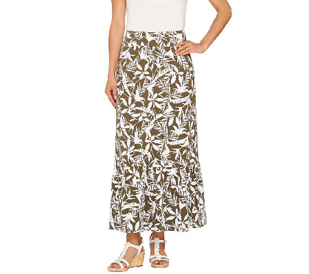 """As Is"" Denim & Co. Printed Jersey Skirt with Flounce"