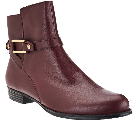 """As Is"" Isaac Mizrahi Live! Leather Ankle Boots with Buckle Details"