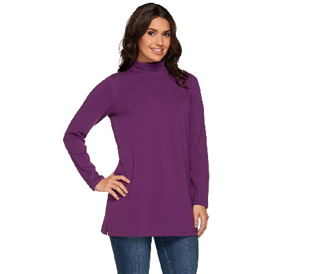 """As Is"" Denim & Co. Essentials Jersey Mock Neck Long Sleeve Tunic"