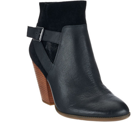 """As Is"" Sole Society Leather Stacked Heel Ankle Boots - Hollie"