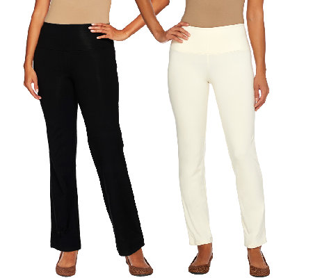 """As Is"" Women with Control Petite Tummy Control Boot Cut Ankle Pants"