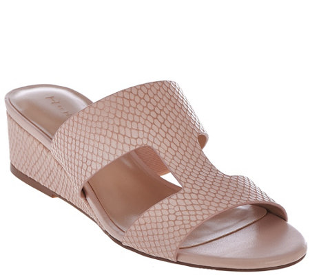 H by Halston Cut-out Leather Sandals with Mini Wedge - Regan