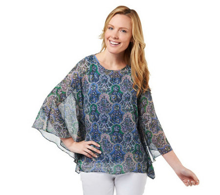 """As Is"" Isaac Mizrahi Live! Paisley Print Sheer Caftan with Solid Tank"