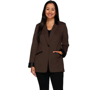 """As Is"" Susan Graver Ponte Jacket with Faux Leather Trim - A278021"