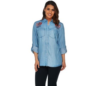"C. Wonder Chambray ""Carrie"" Blouse with Embroidery - A279721"