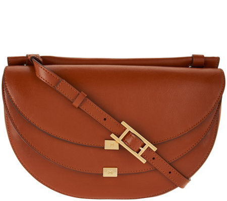 H by Halston Glazed Leather Saddle Bag with Flap Front