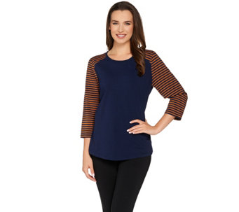 Denim & Co. Active 3/4 Sleeve Top w/ Stripes and Solid Body - A280121