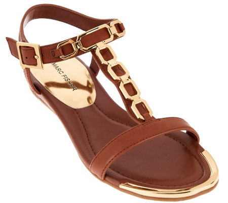 """As Is"" Marc Fisher Leather Sandals w/Chain Details - Mikaela"