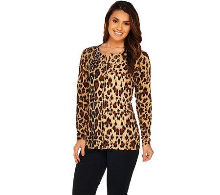 Quacker Factory Animal Print Cardigan with Bracelet Sleeves