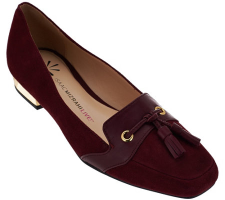 """As Is"" Isaac Mizrahi Live! Suede Flats with Tassel Detail"
