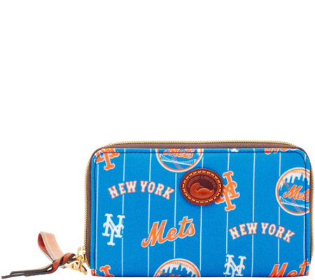 Dooney & Bourke MLB Nylon Mets Zip Around Phone Wristlet