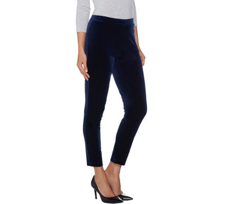 Susan Graver Stretch Velvet Pull-On Slim Leg Ankle Pants