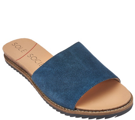 """As Is"" Sole Society Leather or Suede Slide Sandals - Luna"