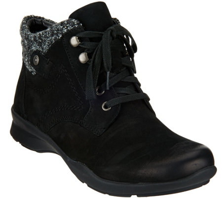Earth Leather Lace-up Boots with Knit Trim - Davana