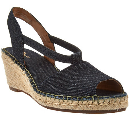 """As Is"" Clarks Artisan Espadrille Wedge Slip-on Sandals"