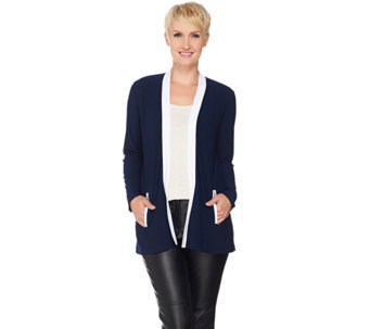 Susan Graver Textured Liquid Knit Open Front Cardigan - A285421