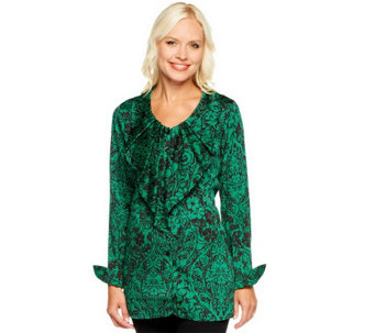 """As Is"" Status by Star Jones Button Front Woven Blouse - A285921"