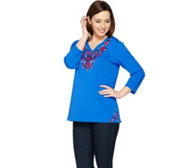 Susan Graver Weekend Embroidered French Terry Top