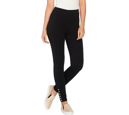 """As Is"" Susan Graver Weekend French Terry Pant with Button Detail"