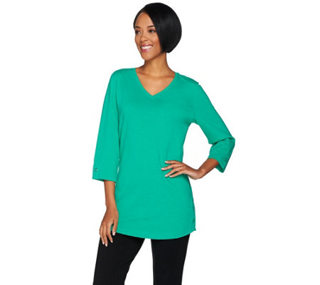Denim & Co. Active 3/4 Sleeve V-Neck Tunic with Snap Detail