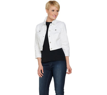 G.I.L.I. Cropped White Denim Jacket with Pockets - Page 1 — QVC.com