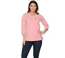 Denim & Co. Perfect Jersey Y Neckline 3/4 Sleeve Top with Pockets - A288721