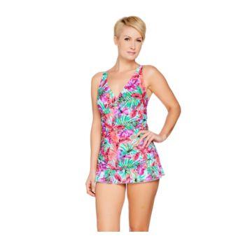 Ocean Dream Signature Floral Palm X-Back Swim Dress