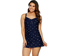 Denim & Co. Beach Ruched Sweetheart Swim Dress - A289121