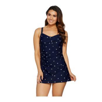 Denim & Co. Beach Ruched Sweetheart Swim Dress