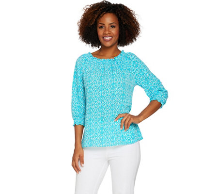 Susan Graver Printed Stretch Woven Peasant Top