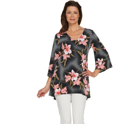 Attitudes by Renee Printed Hi-Low Bell Sleeve Knit Tunic