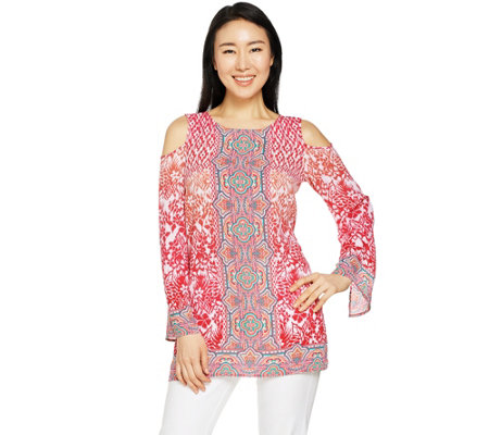 Belle by Kim Gravel Cold Shoulder Printed Tunic
