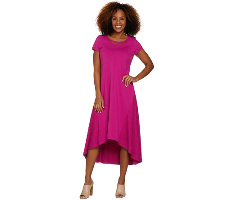 H by Halston Petite Knit Maxi Dress with Hi-Low Hem and Lace Detail