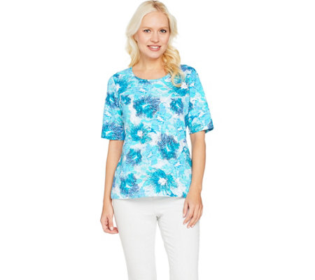Denim & Co. Printed Scoop Neck Elbow Sleeve Top