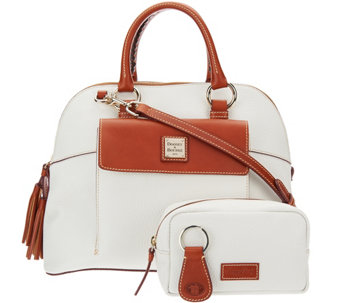 """As Is"" Dooney & Bourke Pebble Leather Aubrey Satchel with Accessories - A292521"