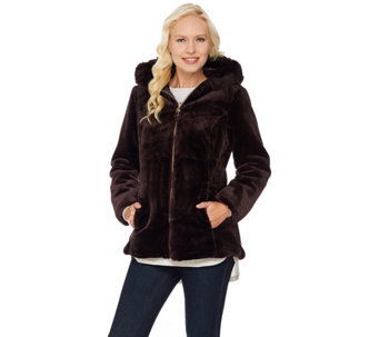"""As Is"" Susan Graver Faux Fur Zip Front Jacket with Trimmed Hood - A293121"
