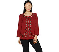 Bob Mackie's Embroidered Woven Georgette Top - A293821