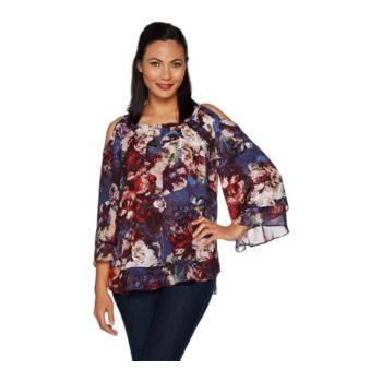 Hot in Hollywood Print or Solid Cold Shoulder Blouse
