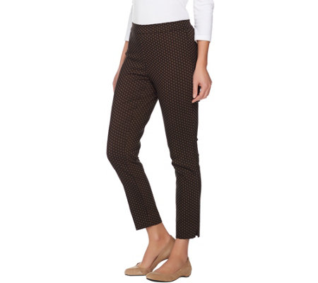 """As Is"" Susan Graver Jacquard Print Pull-on Slim Leg Ankle Pants"