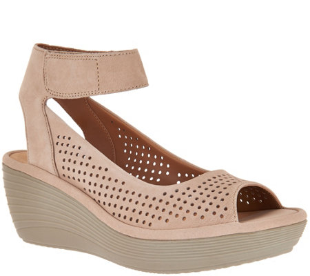 """As Is"" Clarks Nubuck Leather Perforated Wedges - Reedly Salene"
