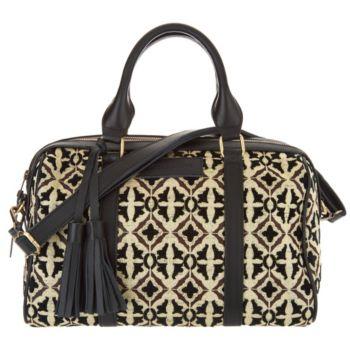 Mushmina Woven Pattern & Leather Satchel